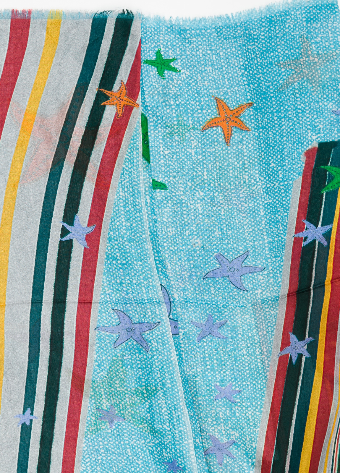 Foulard estampado estrellas color turquesa 100 x 200 cm. 100% Seda. - Ítem1