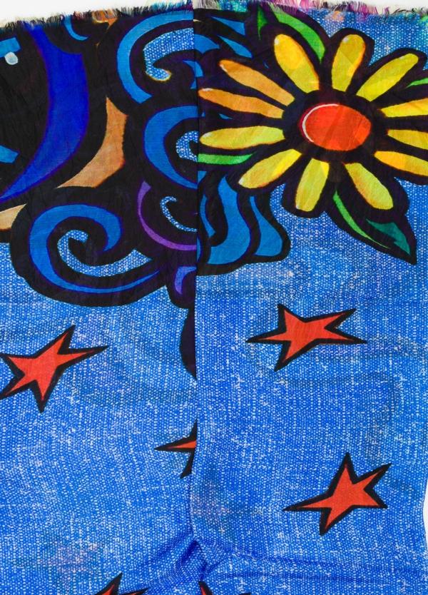 Foulard estampado étnico color azul, 100 x 200 cm. 100% Seda. - Ítem1