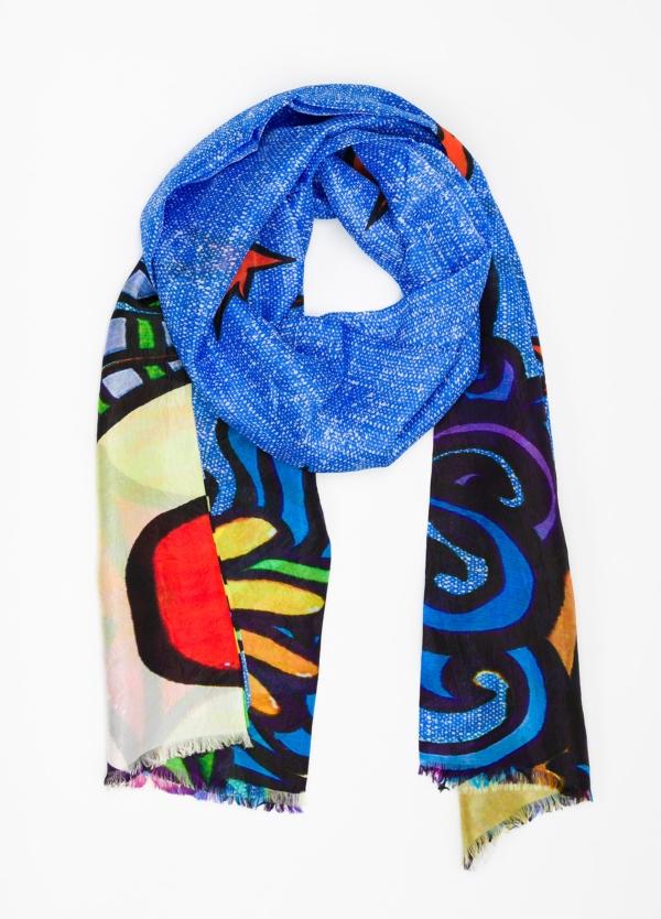 Foulard estampado étnico color azul, 100 x 200 cm. 100% Seda.