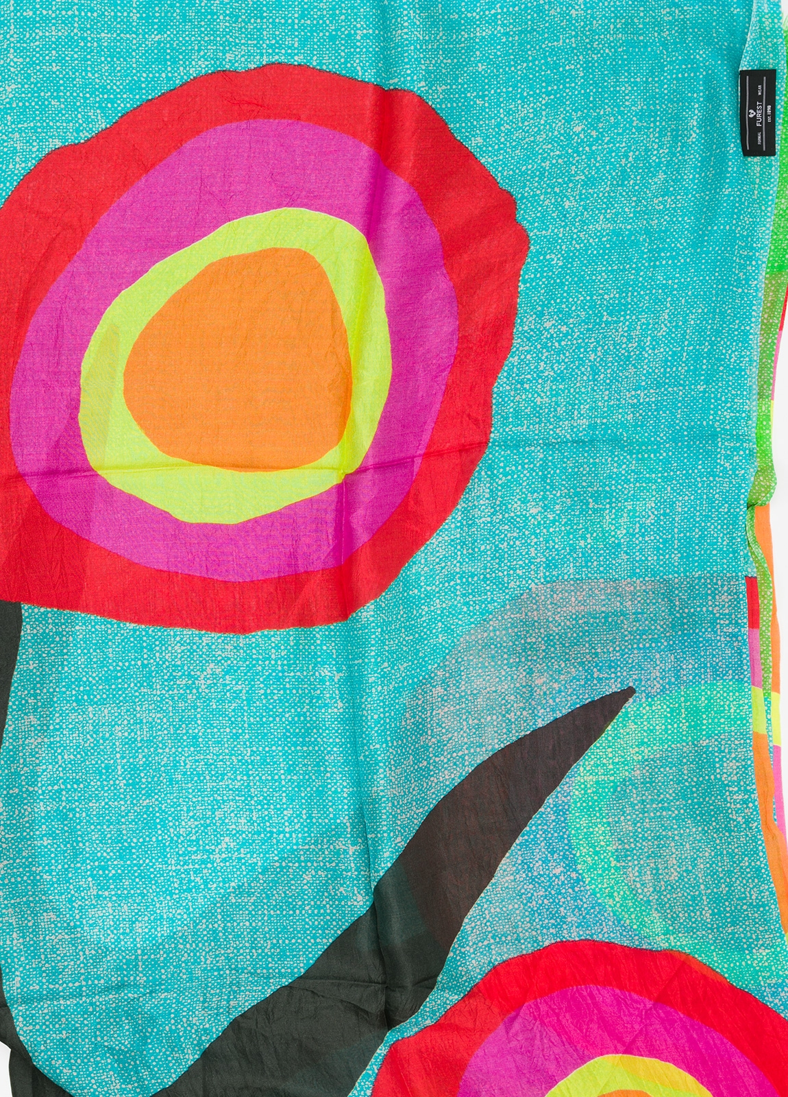 Foulard estampado étnico color turquesa, 100 x 200 cm. 100% Seda. - Ítem1