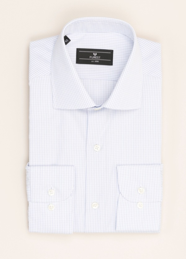 Camisa vestir FUREST COLECCIÓN REGULAR FIT micro cuadro celeste