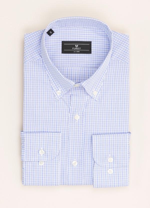 Camisa Vestir Furest Colección Regular Fit Cuadros Celeste