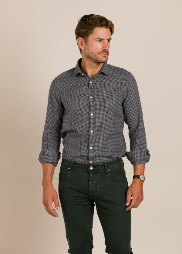 Camisa HARTFORD cuadros gris.