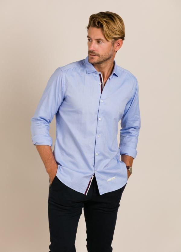 Camisa sport TINTORIA MATEI lisa celeste