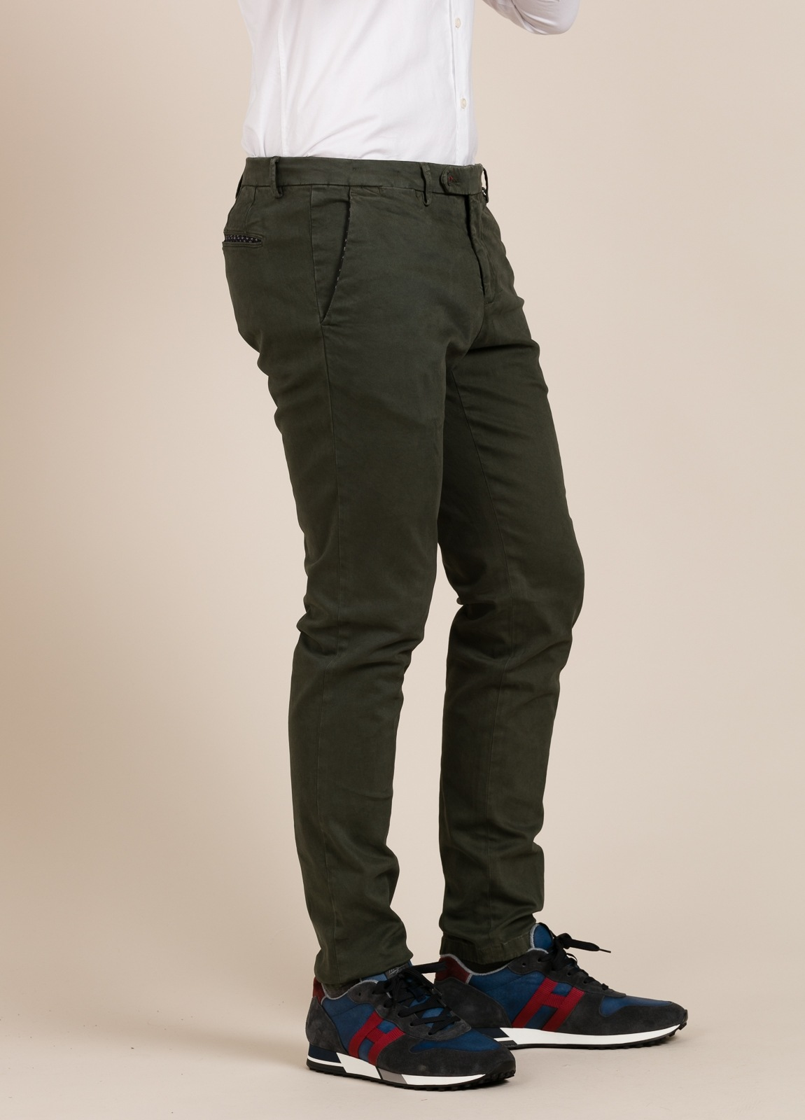 Pantalón chino PAOLONI verde kaki.