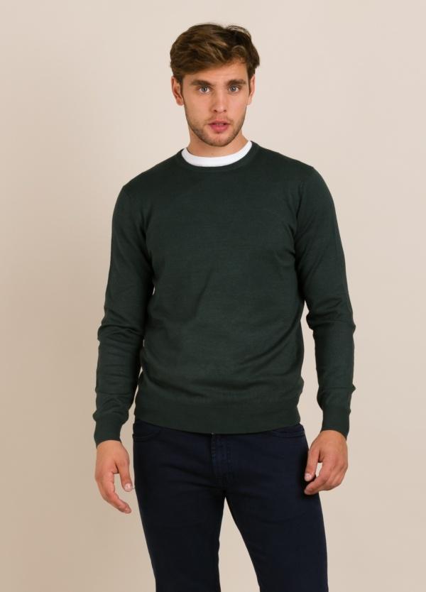 Jersey FUREST COLECCIÓN cuello redondo verde oscuro