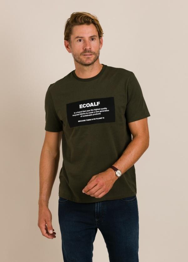 Camiseta verde ECOALF con texto estampado