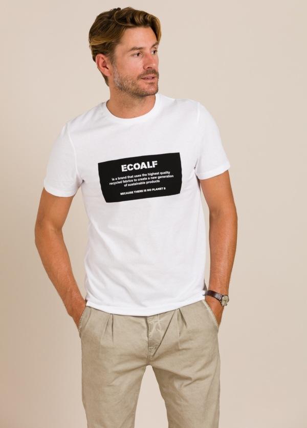 Camiseta blanca ECOALF con texto estampado
