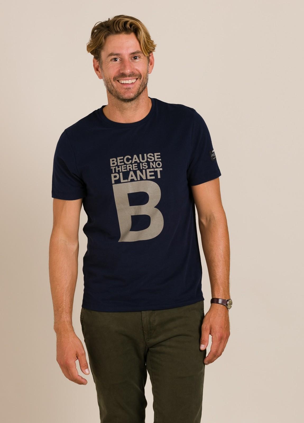 Camiseta azul marino ECOALF con texto estampado