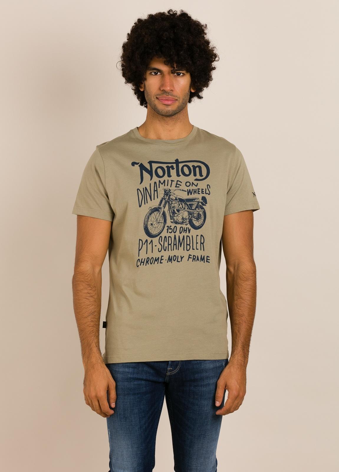 Camiseta NORTON kaki con estampado gráfico