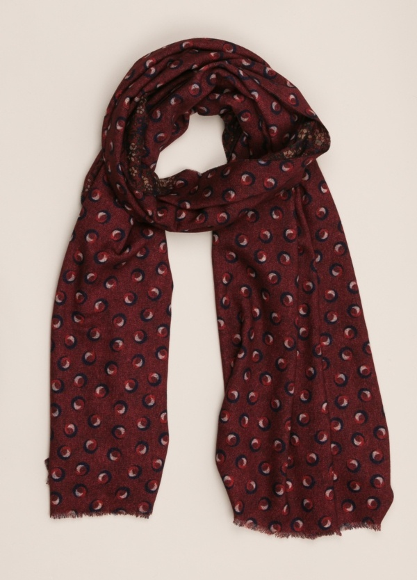 Foulard ALTEA doble cara estampado granate.