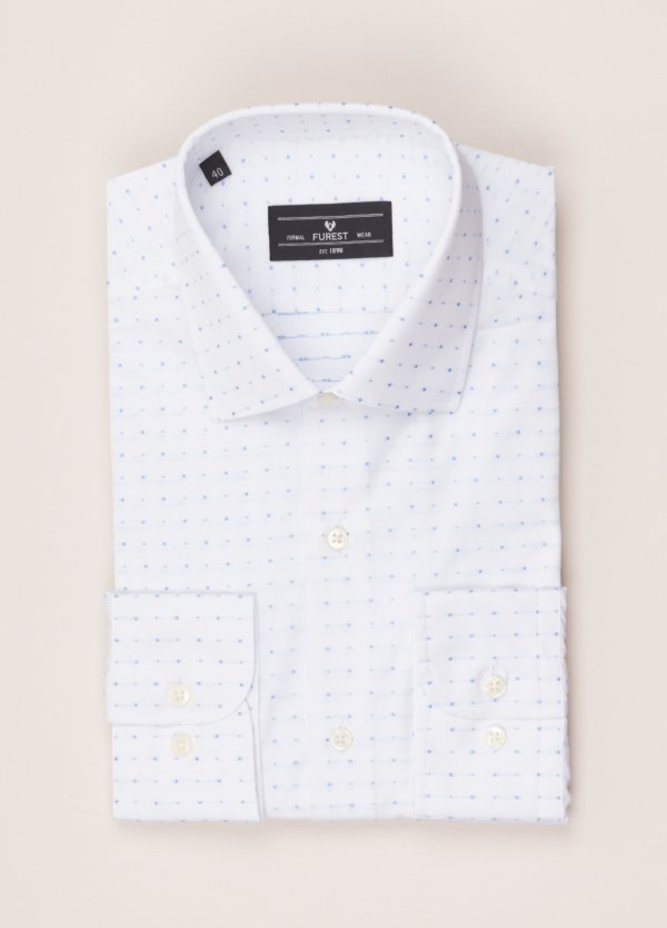 Camisa vestir FUREST COLECCIÓN SLIM FIT cuello italiano Fil Coupé dibujo geométrico
