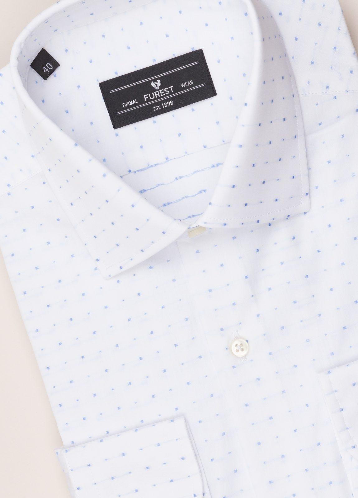 Camisa vestir FUREST COLECCIÓN SLIM FIT cuello italiano Fil Coupé dibujo geométrico - Ítem1