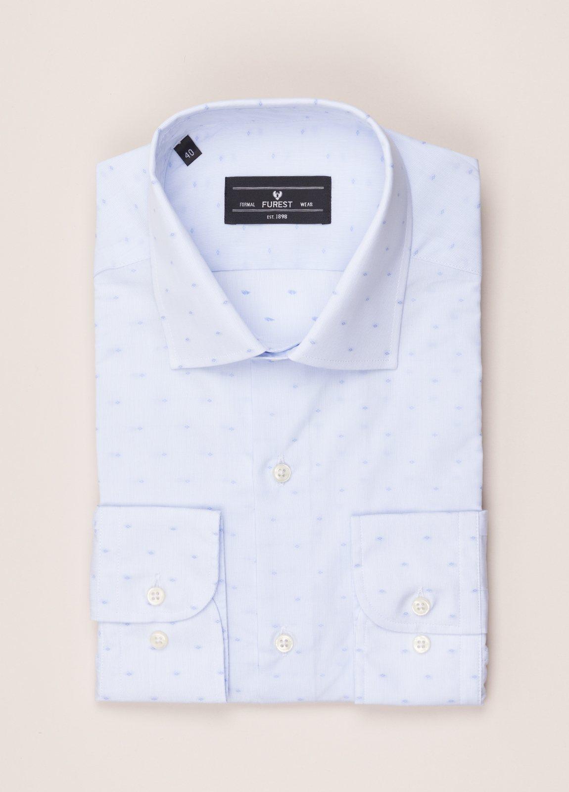 Camisa vestir SLIM FIT cuello italiano Fil Coupé dibujo geométrico