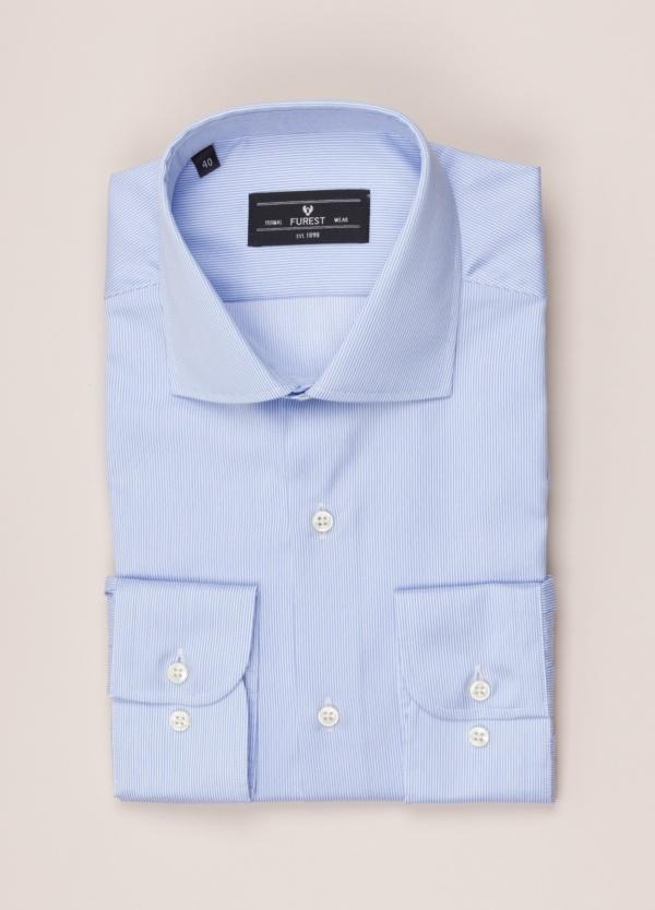 Camisa vestir FUREST COLECCIÓN regular fit cuello italiano rayas celeste