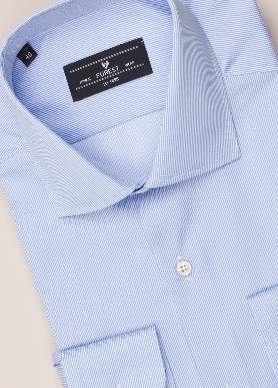 Camisa vestir FUREST COLECCIÓN regular fit cuello italiano rayas celeste - Ítem1