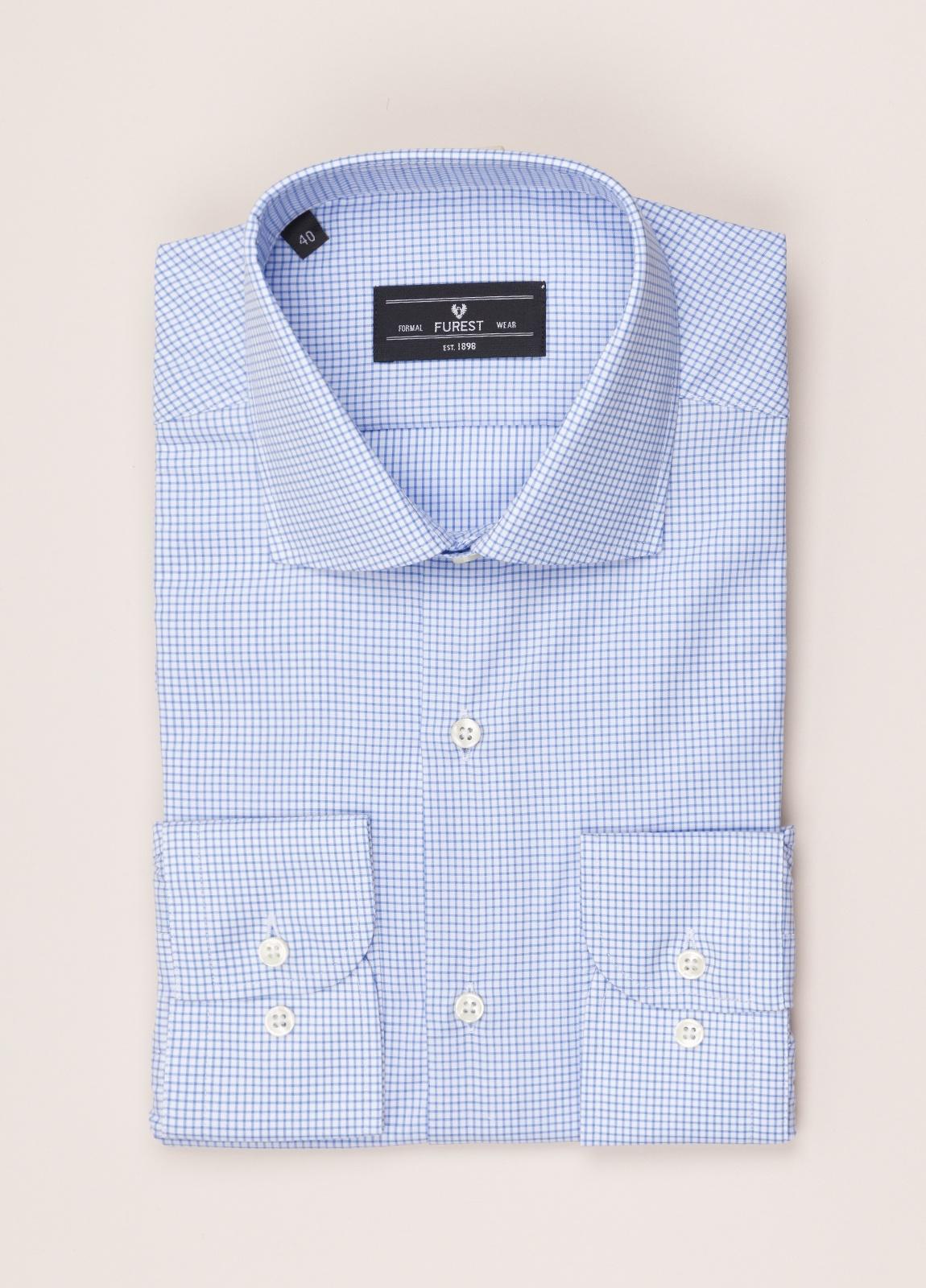 Camisa vestir FUREST COLECCIÓN regular fit cuello italiano cuadro libreta azul