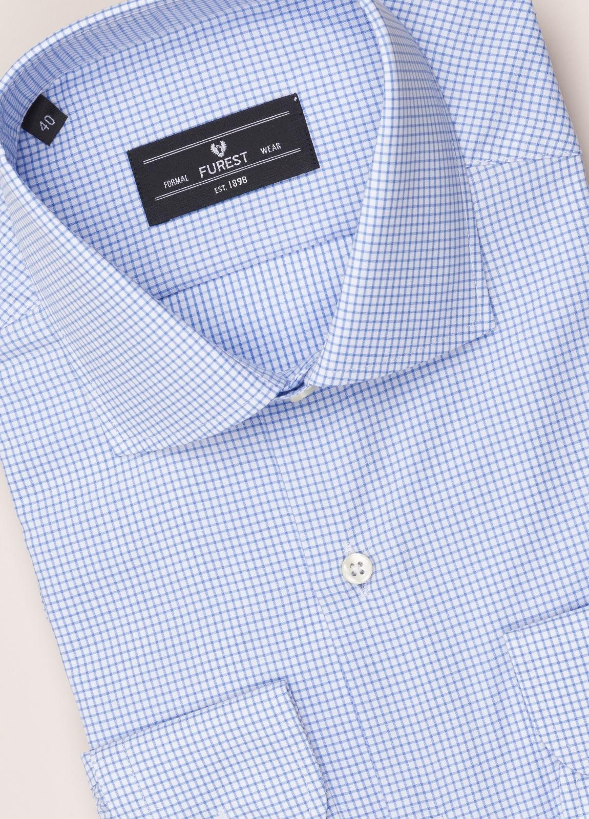 Camisa vestir FUREST COLECCIÓN regular fit cuello italiano cuadro libreta azul - Ítem1