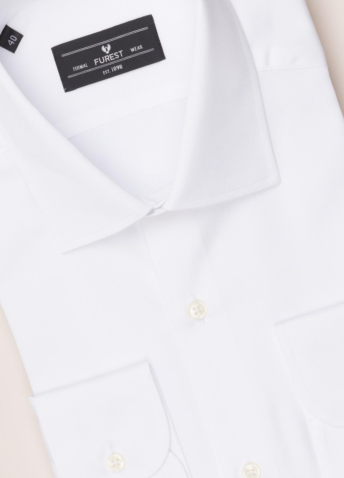 Camisa vestir FUREST COLECCIÓN SLIM FIT cuello italiano piqué blanco - Ítem1