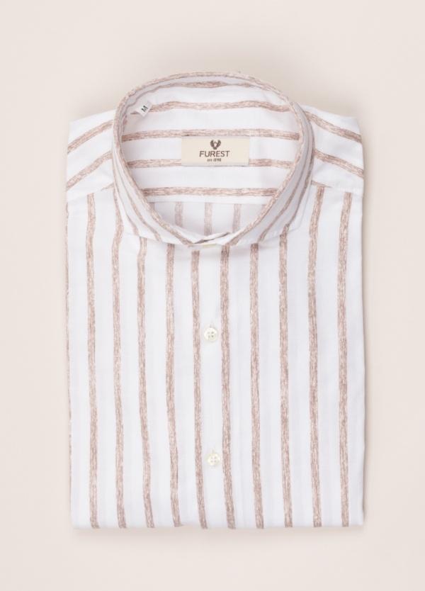 Camisa sport FUREST COLECCIÓN SLIM FIT rayas blanco marrón