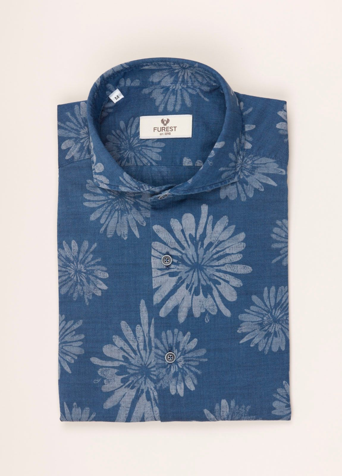 Camisa sport FUREST COLECCIÓN SLIM FIT dibujo azul denim