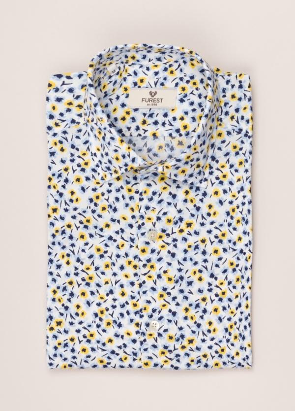 Camisa sport FUREST COLECCIÓN Slim Fit flores amarillo