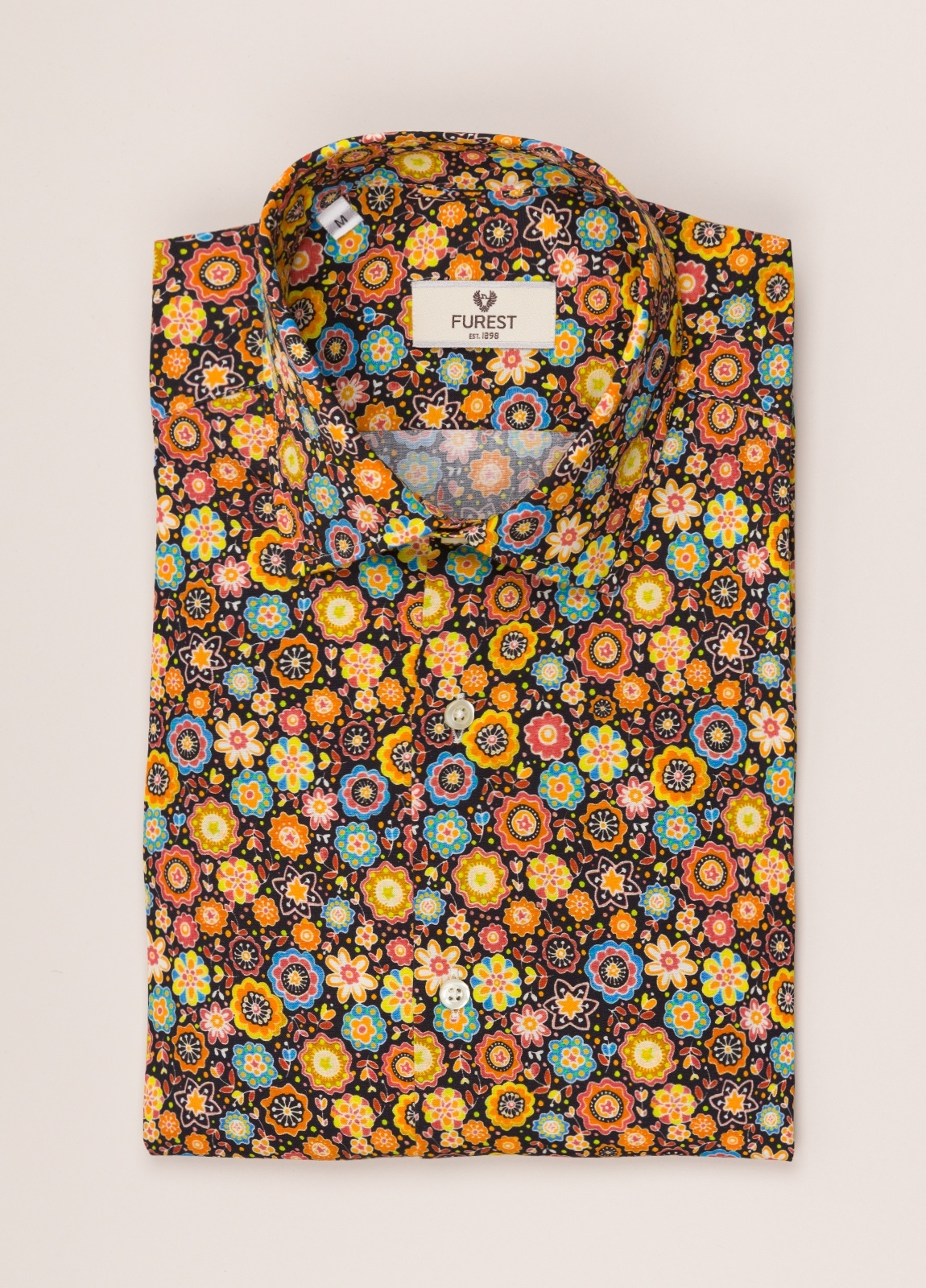 Camisa sport FUREST COLECCIÓN SLIM FIT flores tostado