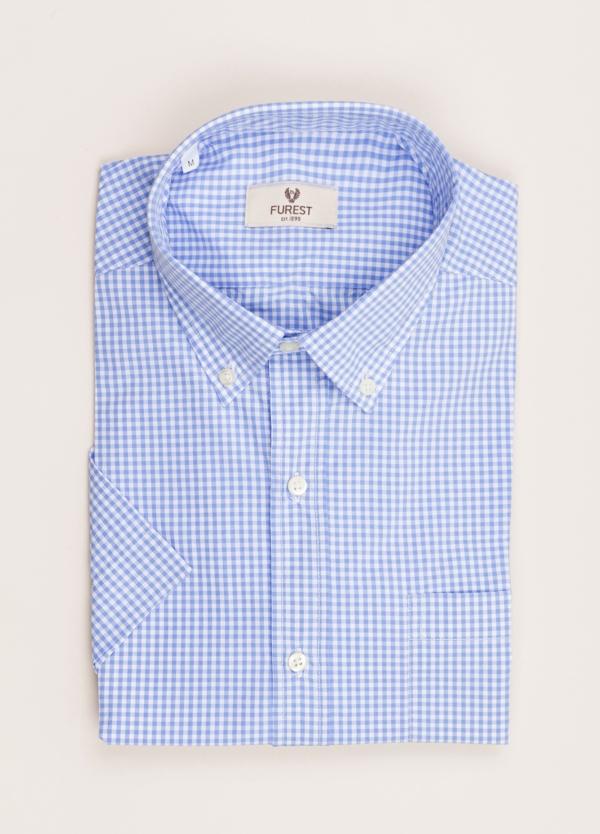 Camisa M/Corta sport FUREST COLECCIÓN Regular FIT vichy celeste