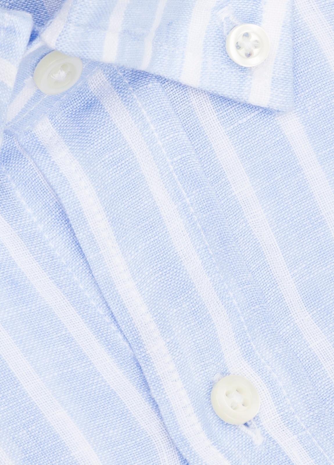 Camisa M/Corta sport FUREST COLECCIÓN Regular FIT Lino rayas celeste - Ítem1