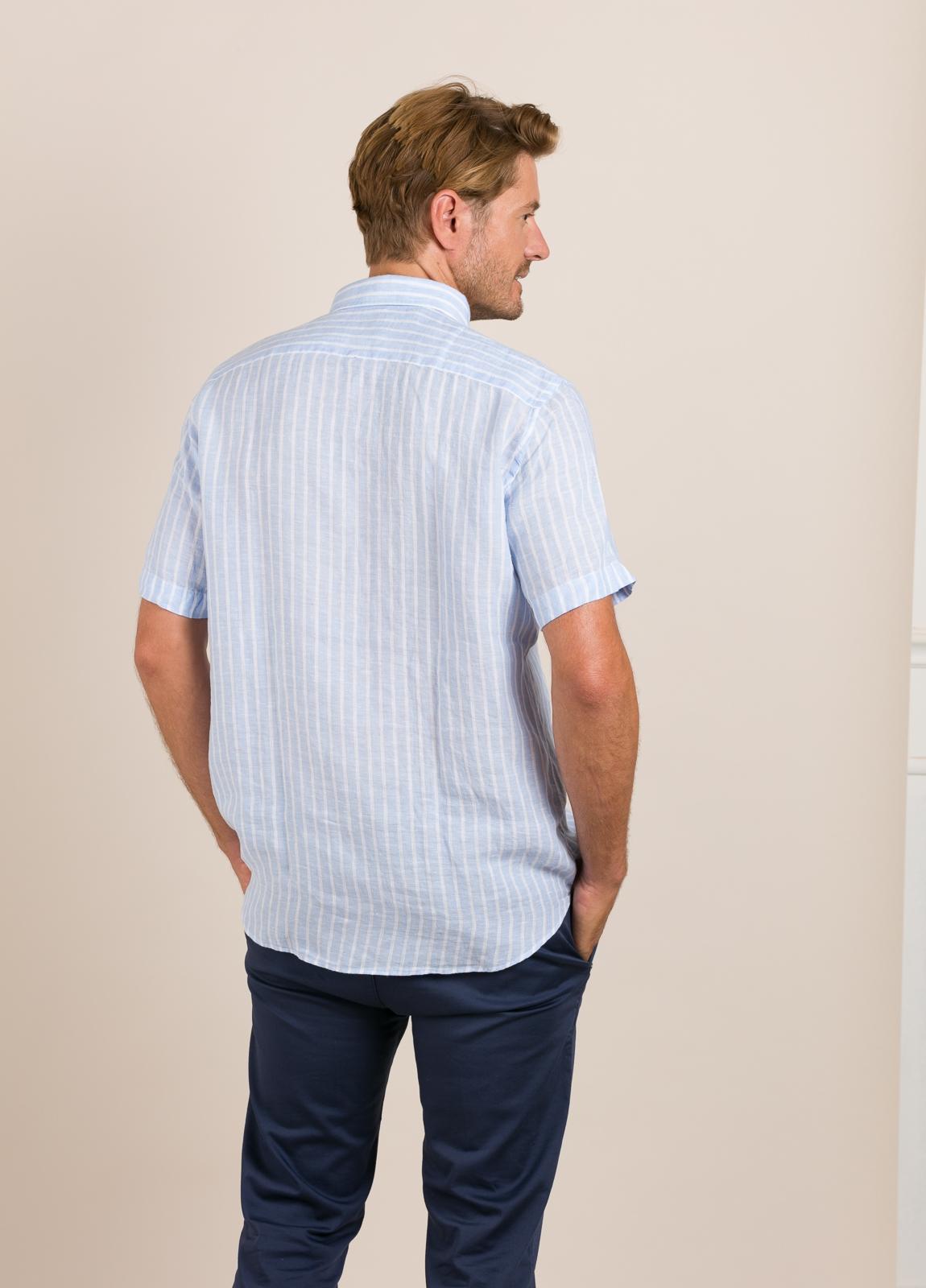 Camisa M/Corta sport FUREST COLECCIÓN Regular FIT Lino rayas celeste - Ítem3