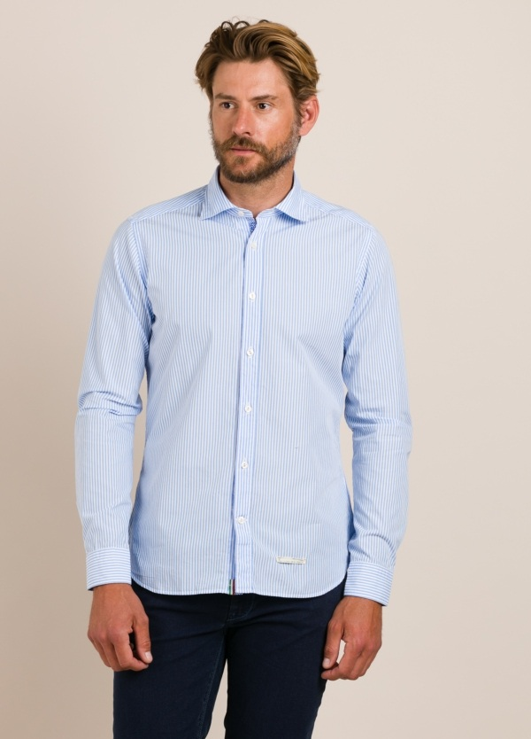 Camisa sport TINTORIA MATEI rayas celeste