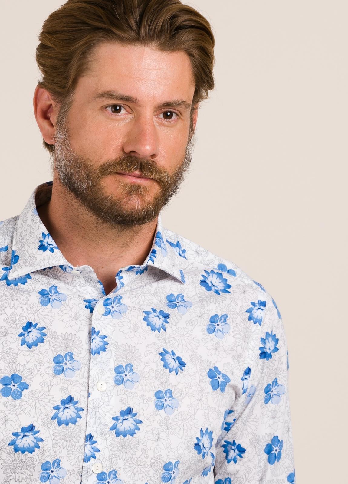 Camisa sport TINTORIA MATEI flores celeste - Ítem2