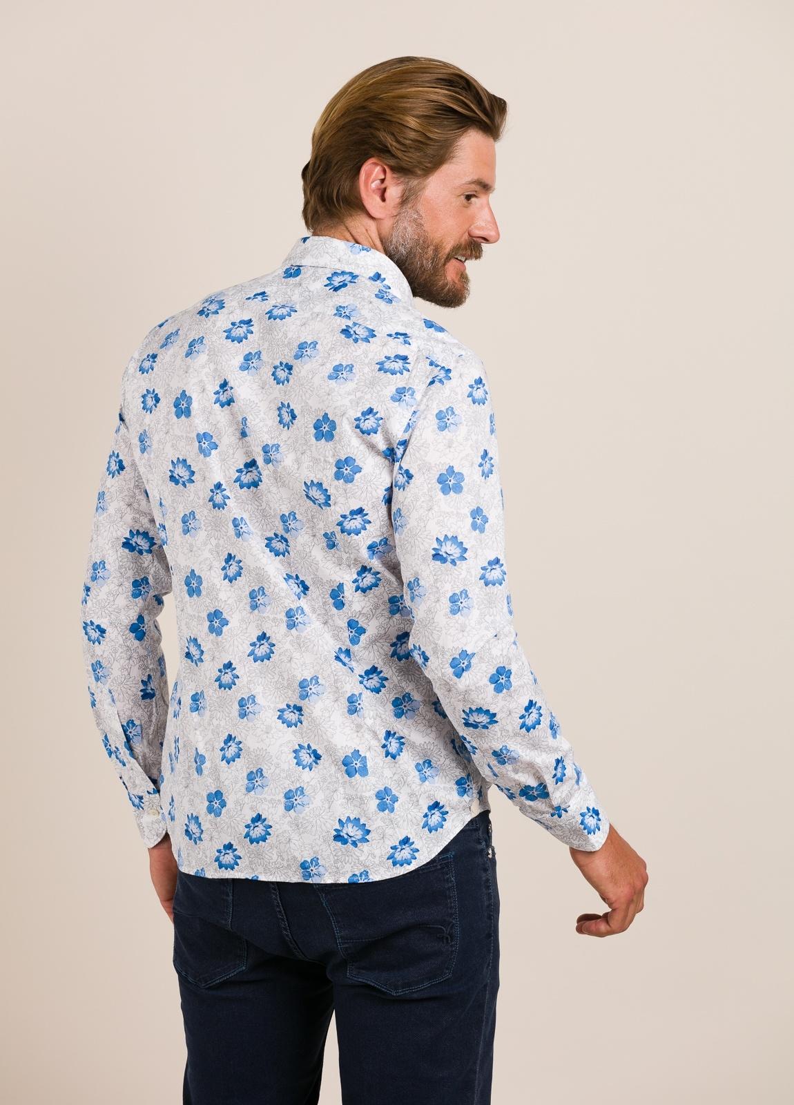 Camisa sport TINTORIA MATEI flores celeste - Ítem1