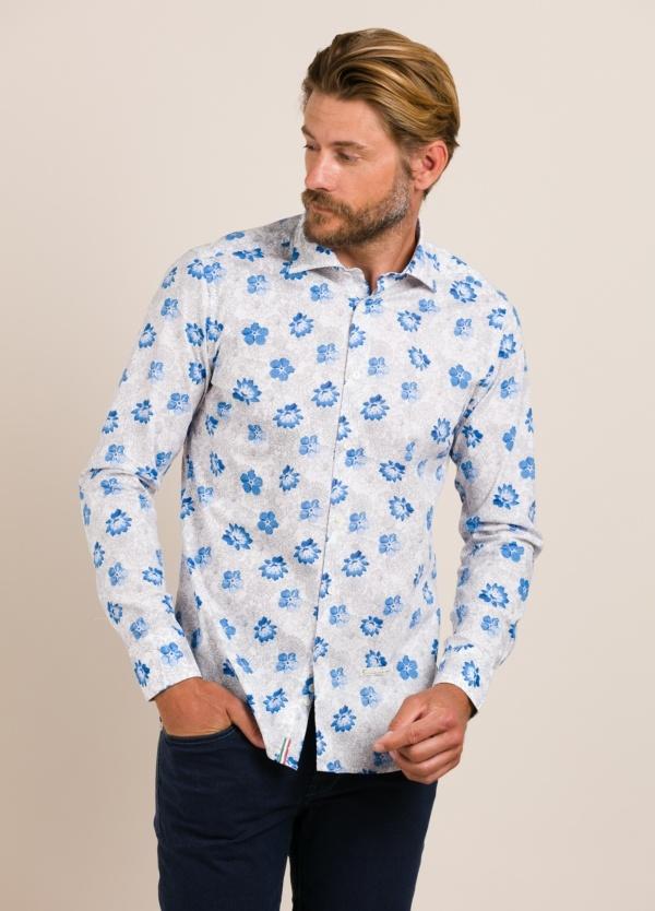 Camisa sport TINTORIA MATEI flores celeste
