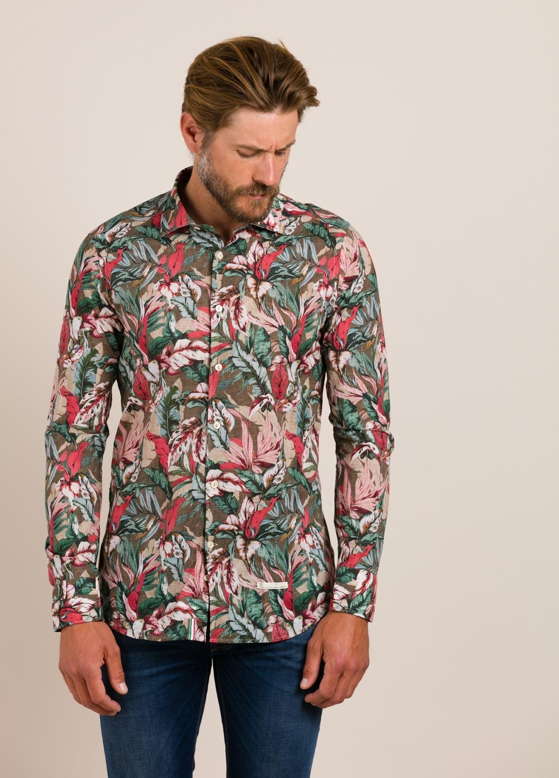 Camisa sport TINTORIA MATEI estampado tropical