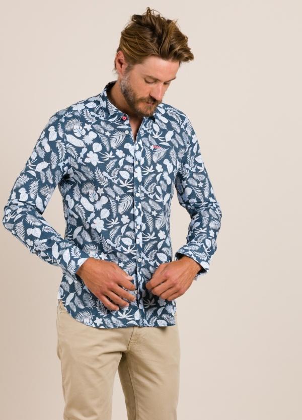 Camisa sport NEW ZEALAND dibujo azul