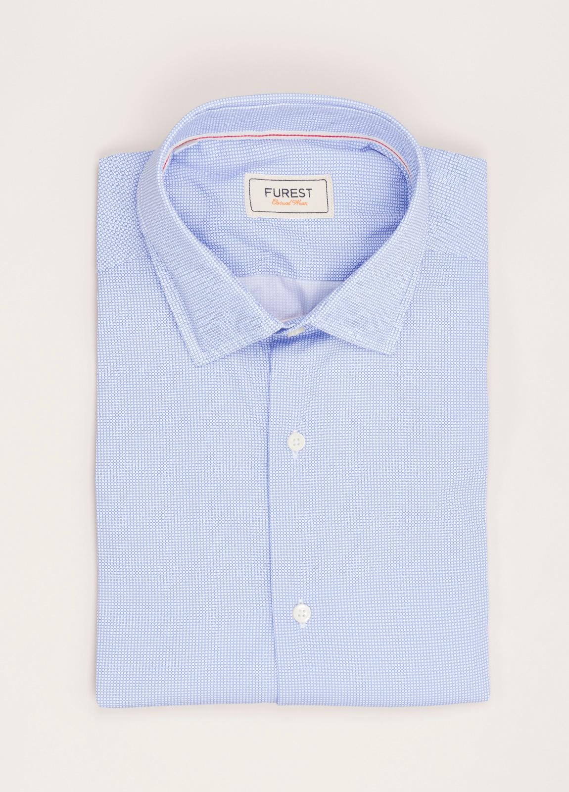 Camisa Casual Wear FUREST COLECCIÓN slim fit dibujo celeste