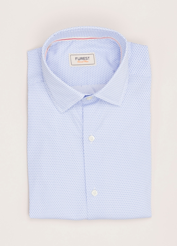 Camisa Casual Wear FUREST COLECCIÓN slim fit dibujo celeste