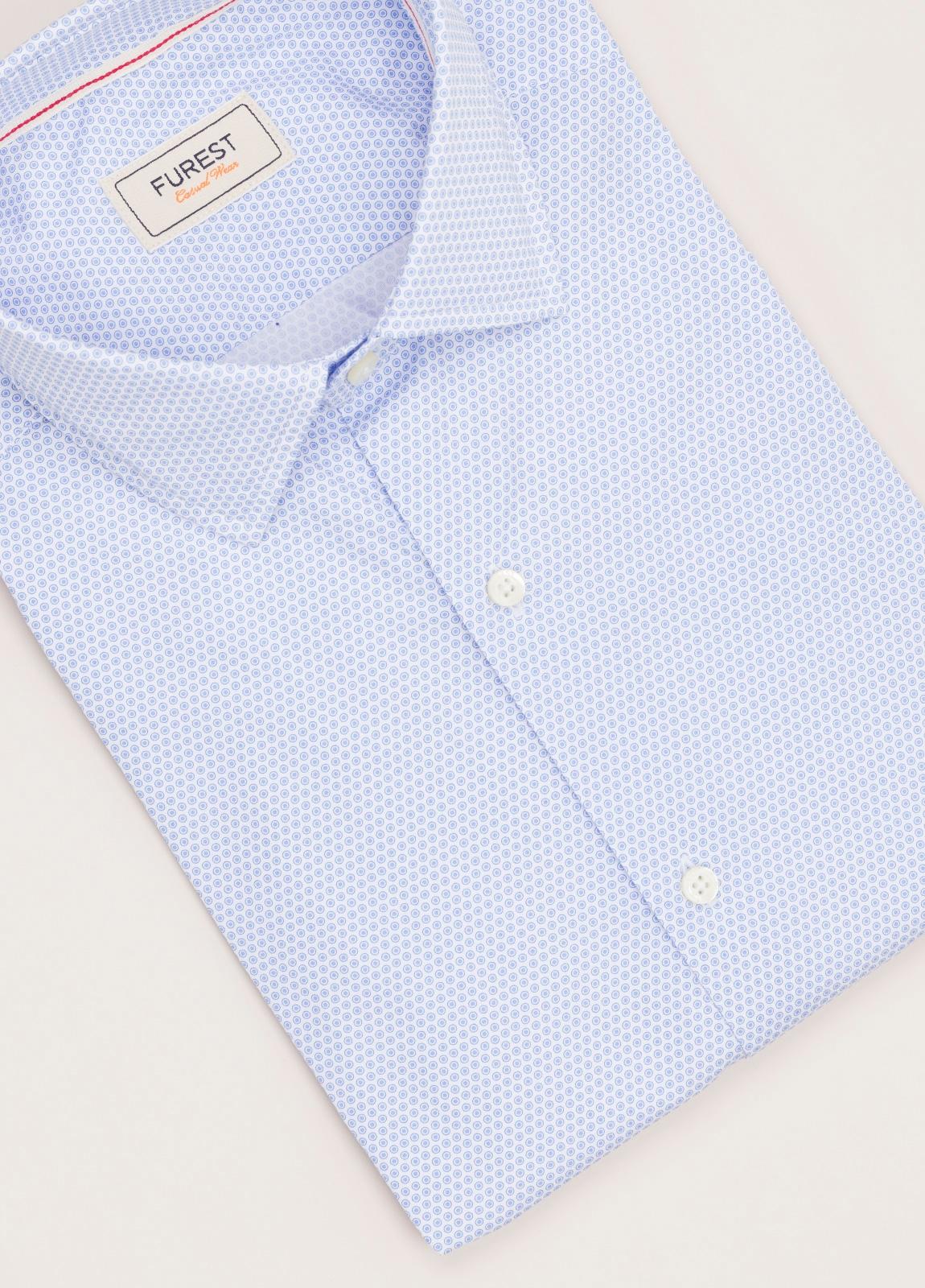 Camisa Casual Wear FUREST COLECCIÓN slim fit dibujo celeste - Ítem1
