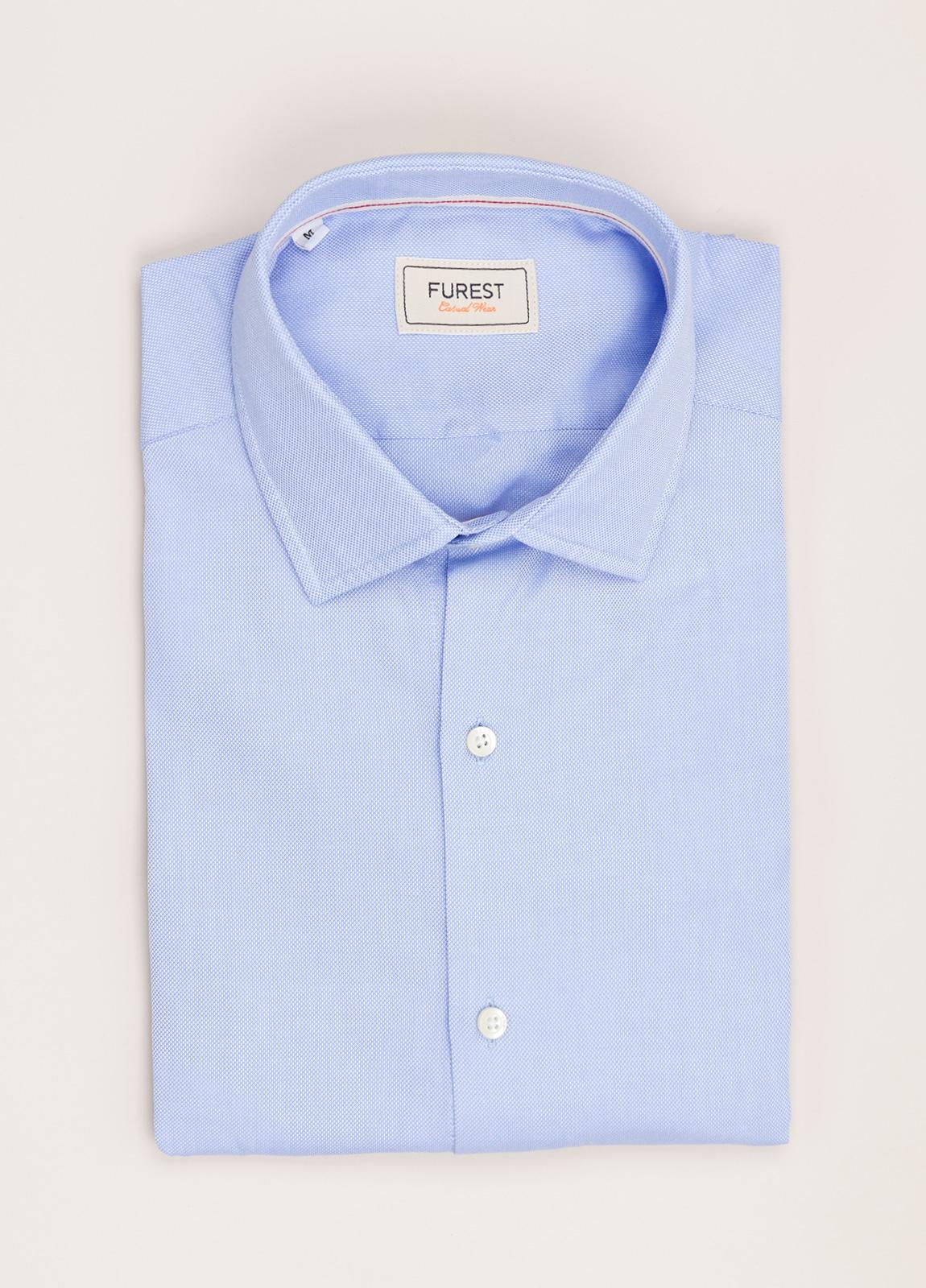 Camisa Casual Wear FUREST COLECCIÓN slim fit textura celeste