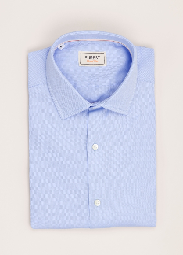 Camisa Casual Wear FUREST COLECCIÓN slim fit textura celeste