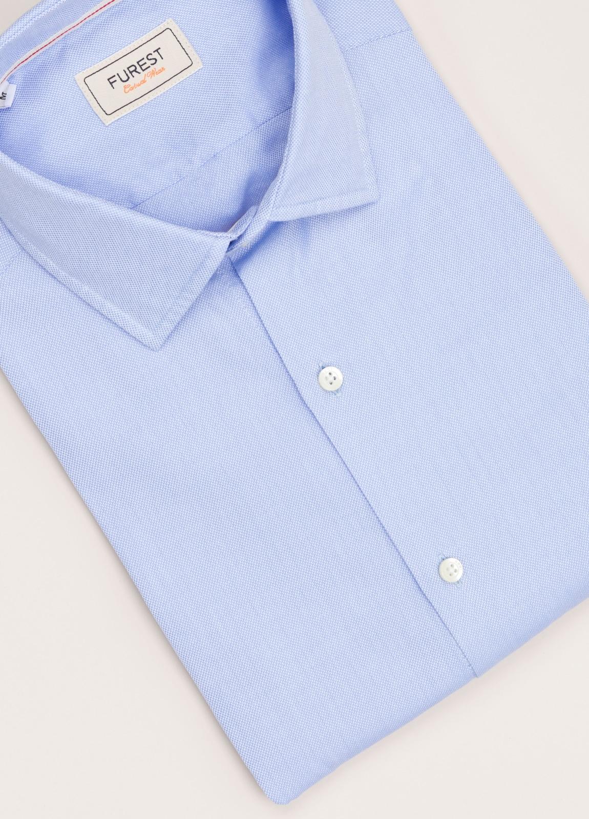 Camisa Casual Wear FUREST COLECCIÓN slim fit textura celeste - Ítem1