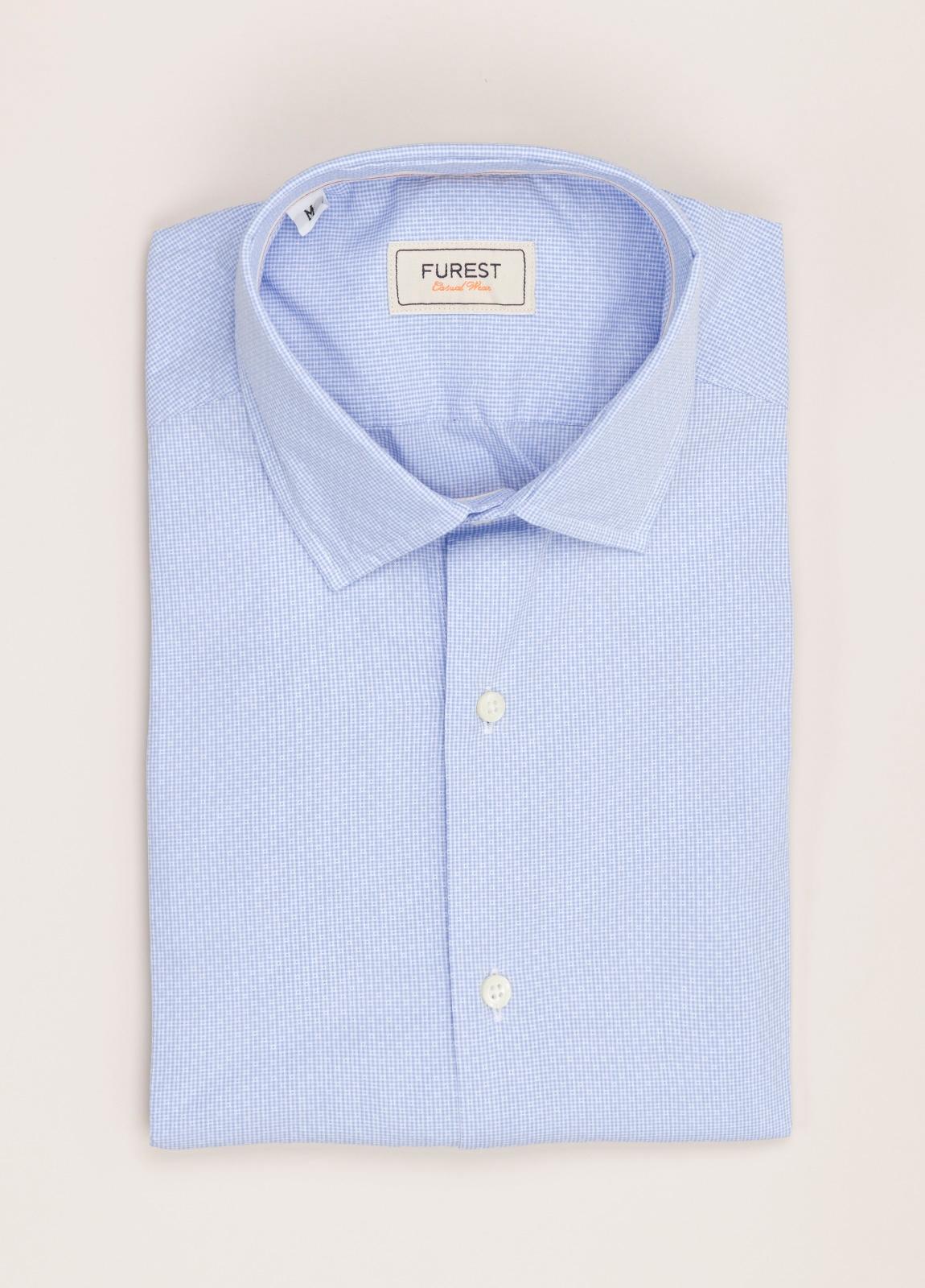 Camisa Casual Wear FUREST COLECCIÓN slim fit fil dibujo celeste