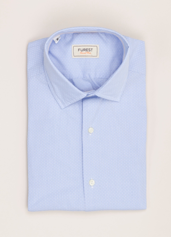Camisa Casual Wear FUREST COLECCIÓN slim fit fil dibujo celeste