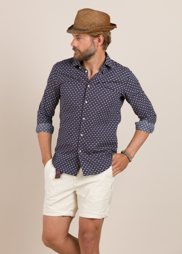 Camisa Casual Wear FUREST COLECCIÓN slim fit dibujo geométrico