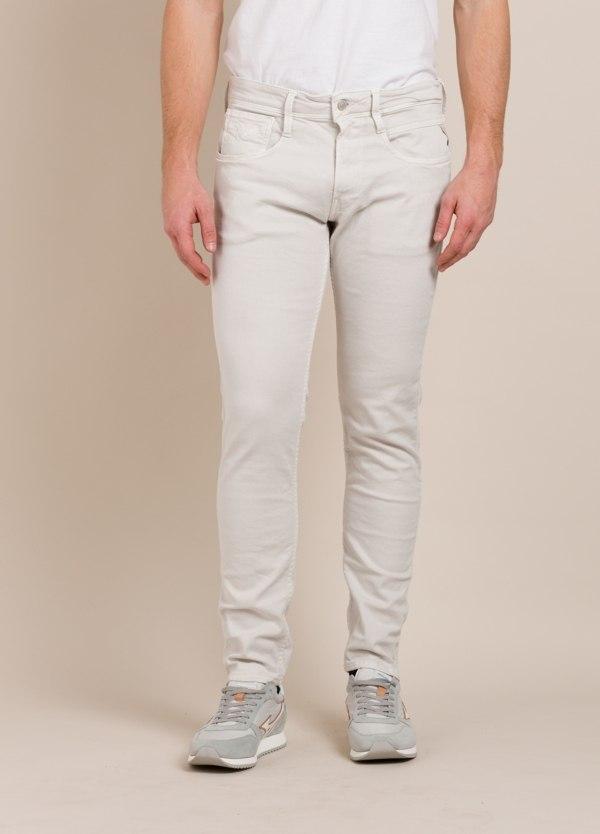 Pantalón 5 bolsillos REPLAY SLIM FIT crudo
