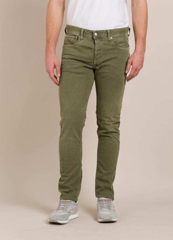 Pantalón 5 bolsillos REPLAY SLIM FIT kaki