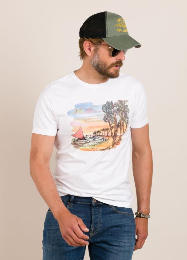 Camiseta FUREST COLECCIÓN estampado vintage blanco