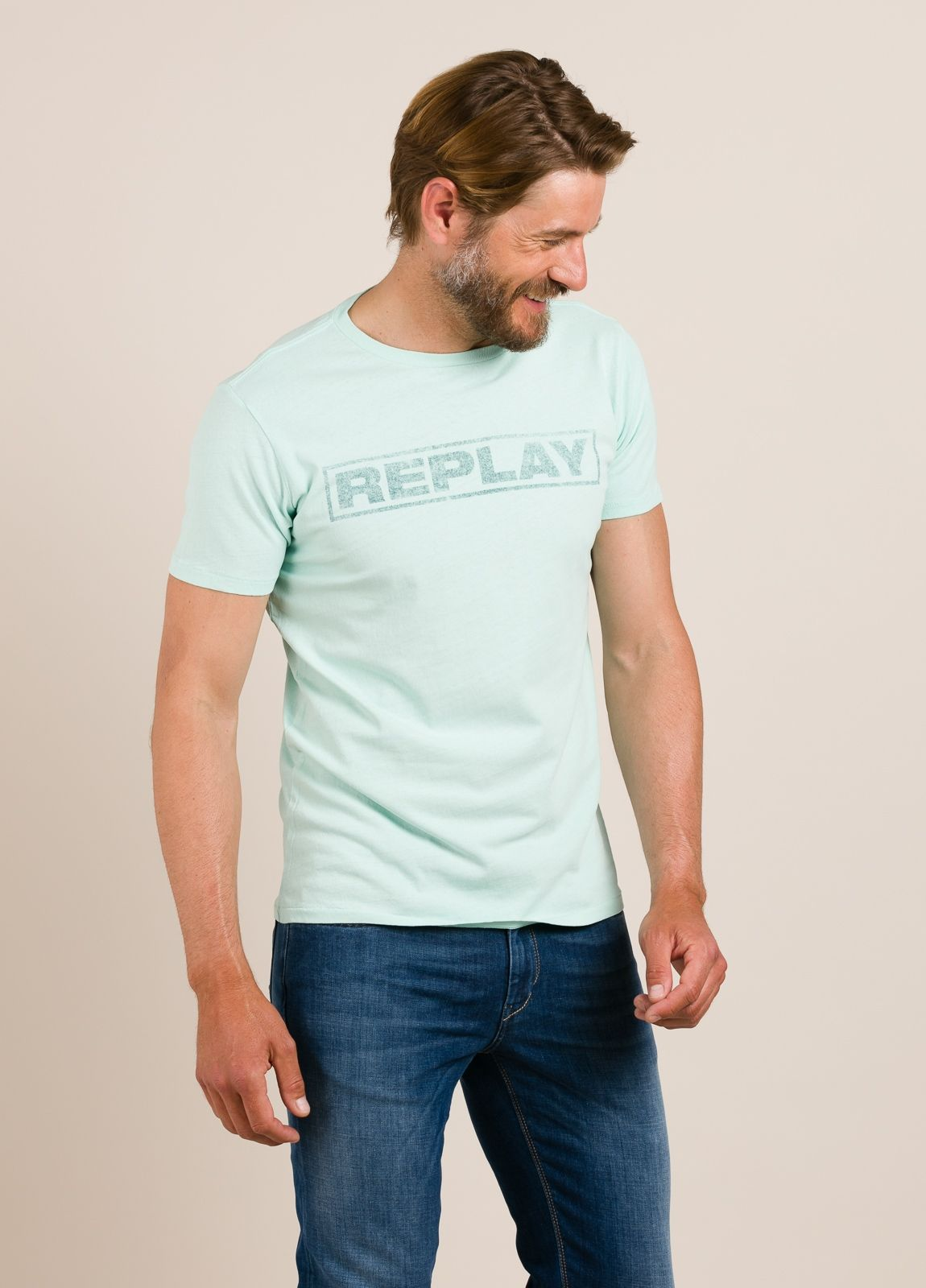 Camiseta REPLAY estampado gráfico verde