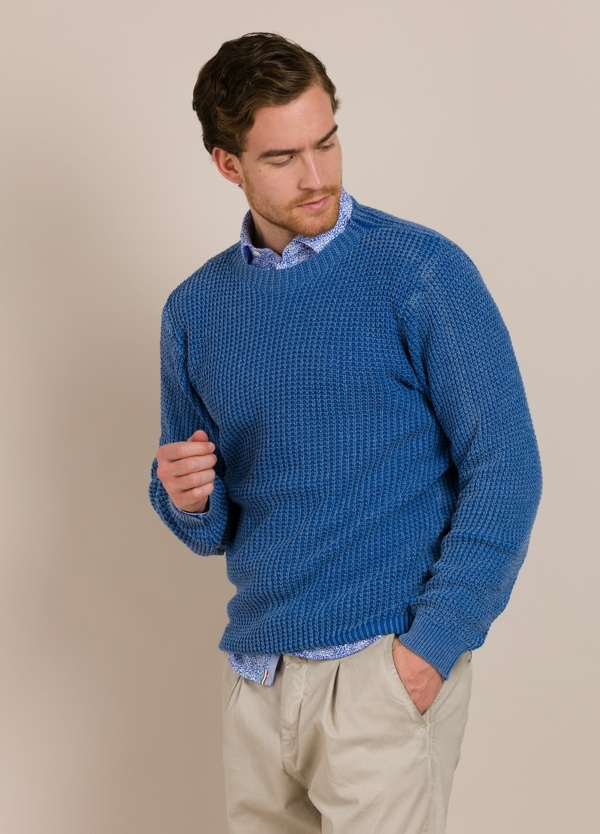 Jersey cuello redondo WOOL & CO azul